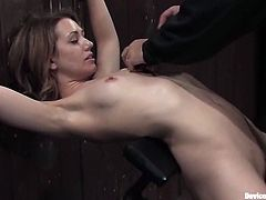 Sexy chick gets tied up to the wall. Then the guy fixes clothespins to her tits. After that she gets her shaved pussy toyed with a vibrator.