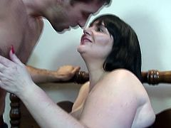 This hunk just got his paws on chubby slut Andi. She's a sensual, very curvy brunette that craves for a hard cock and wants it now. The dude begins to taunt the bitch and rubs her big fat ass before getting ready to fuck her. Yeah, she's about to have one hell of a time with this muscled dude
