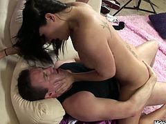 This gorgeous Asian temptress knows how to fuck! She rides one of the guys in cowgirl position showing him who's the boss. Then she sucks his cock for precious cum.