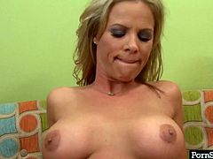 Blonde whore Kayla Sinz gives blowjob and gets her pussy fucked hard