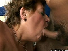 Shameless granny loves young guys so she plays kinky sex games with one. She sucks dildo imitating blowjob. She tries to turn him on this way. Seems like it works coz he starts playing with clam using the same dildo. He toy fucks her intensively.