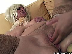 Voracious granny that is still full of lust and passion for sex is fucking furiously in spicy porn clip presented by 21 Sextury. She gets her throbbing juices wet mound polished and fingered by thirsty young stud. Then she rides hard stick actively.