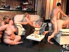 Check out these horny bbw matures having fun with three young boys. The bitches can't get enough of their big stiff cocks in their fat cunts!
