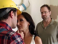 Ava is a horny milf with angelic face and a pair of huge boobs that is making her man insane and she can not stop herself. Her big dick guy undresses her in a few moments and gropes her heavenly boobs hard. He sucks her cum asking pussy and squeezes the nipples just febore fuck her from the back.