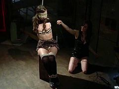 Lesbian Femdom BDSM Session with Wicked Toying with Different Toys