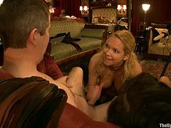 Tied up brunette sits on a sofa getting her ass drilled with a fucking machine. Then Devi Lynne gives a blowjob to Black dude.