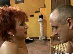Whorish red-haired granny gets her vagina dildo fucked by horny dad
