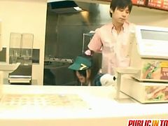 Japanese cashier Miku gets violated in public. Her customer takes advantage of her hairy pussy in this public fucking encounter.