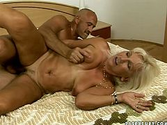 Damn, this granny is sexually charged slut. Watch her going wild and dirty in steamy porn video presented by 21 Sextury. Ash blonde mature woman gets toy fucked before giving deepthroat blowjob. Then, perverted guy rams her hard from behind.
