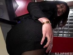 Adorable Japanese babe makes hot upskirt show. She lifts the skirt up and fondles her pussy through panties and pantyhose.