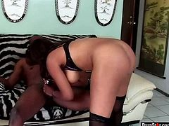 Stout in back ebony hooker is bouncing actively in a cowgirl position. Then she bends over the couch getting rammed hard from behind. X-rated sex video of slutty Pornstar.