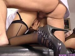 Blonde in stockings anal fuck in heels by old guy on floor