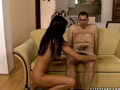 Luscious brunatte babe with luxurious long hair makes out with her long term boyfriend. She lies on the couch letting him tongue fuck her moist cunt before she pays him back with a blowjob in sizzling hot sex video by 21 Sextury.