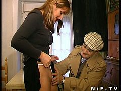 Watch a perverse French milf giving head to an older dude before two young guys join the party. Then it's time for them to blow their cocks before their pussies get banged deep and hard into kingdom come.