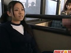 Nana Ogura is a schoolgirl who gets fucked on a bus with many people looking at her. She is too horny to stop.
