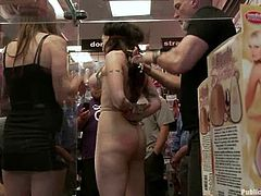 Mark Davis is having fun with Princess Donna Dolore in a shop. He ties the milf up and makes her suck his dick before poking it in her pussy and asshole.