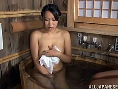 Chubby Japanese chick is playing dirty games with her BF in a sauna. She gives an ardent blowjob to the dude and then allows him smash her wet pussy from behind.