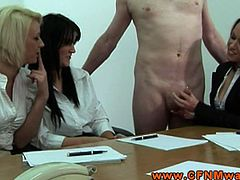 Make sure you don't miss these sexy office ladies. This lucky dude is speechles when they switch turns to jerk off his stiff cock