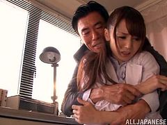 Fuuka Nanasaki visits the principal's office to discuss the aptitude of her students and the perverted old principal takes advantage of her. He opens her top and sucks on her tits, before pulling her panties off.