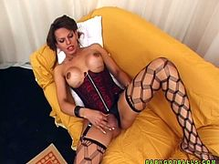 Lustful shemale girl pleases her curvy body lying flat on a bed. Seductive girl Patricia also fondles her wet pussy meanwhile.
