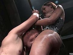 Cute ebony tranny Sexy Jade is having fun with a bald dude called Steven Garcia. She binds and pets the man and then fucks his ass in missionary position.