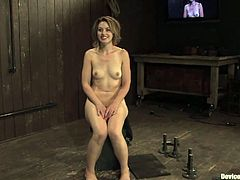 Hot slut Sarah Shevon is playing dirty games with some guy in a basement. She lets the man restrain her and gets her holes fingered and fucked with toys.