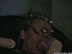 Nasty and monstrous lesbian enjoys double penetration. She trusts two sex toys in her pussy and ass hole and later pleases one beautiful girl.