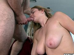This blonde hottie's about to drive you crazy with her huge natural tits and her great ass before her pink pussy's nailed by this guy's big cock.