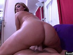 Luscious brunette girl Claire Dames is having curvy body with juicy jugs. She sucks dick and gives hot titjob in POV. Then Claire Dames gets on top of hard stick bouncing her booty actively.