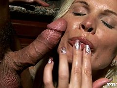 Check the amazing blowjob the blonde MILF Winnie is giving in this video where she takes the load in her mouth and swallows it.