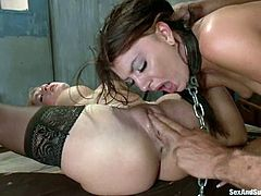 Blonde and brunette chicks get tied up and gagged. They also get toyed in their asses. After that they lick each others pussies and get pounded on a bed.