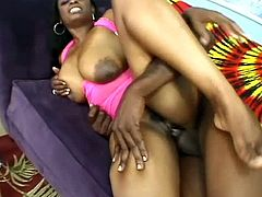 Voracious black woman with curvy body and juicy jugs is nailed bad from behind. Then she gets on top of hard dong jumping actively.