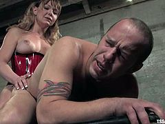 Billy is playing dirty games with hot tranny Danielle Foxxx in a basement. He lets the ladyboy torment him and then welcomes her cock in his tight butt.