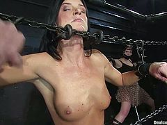 Two hot chicks get tied up and tortured in amazing BDSM clip