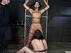Brooke Lee Adams and India Summer get tied up in a basement. Then some guy stuffs the chicks' holes with toys and enjoys the way these bitches moan.