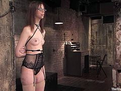 Slim cutie Kristine lets lewd dominator Maestro tie her up and play with her tits and pussy. Then she gives him a blowjob and they have ardent doggy style sex.