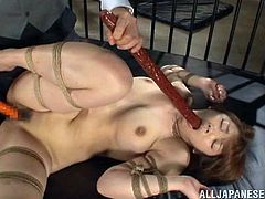This Japanese girl is tied up in prison with her legs and arms bound. She can't do anything about the torture she has to endure. The guards stick a pole in her mouth and almost make her choke. Then he puts a dildo in her cunt. She has rope and clamps attached to her nipples. Ouch, that hurts.