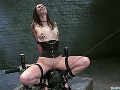 Naughty brunette girl gets tied up and whipped. After that she gets her pussy licked by a guy in mask. Later on she also gives hot blowjob and gets fucked in both holes.