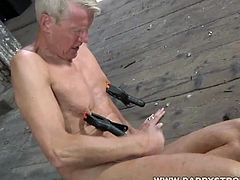 Old daddy likes to hurt himself as he is jerking off! Watch as this grey haired man spanks himself while he jerks off his big hard cock.