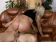 Blonde wench with fat ass and big boobs is jumping on a strong cock getting her pucker stretched wide as hell. X-rated ass fuck scene brought to you by 21 sextury.