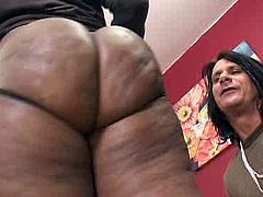 Gosh, just have a look at the huge oiled black ass of this ebony nympho! Wondrous booty harlot bends over the couch and begs lucky white bastard to fuck her wet cooch doggy. Then amazing nympho gives a solid blowjob for sperm in return.