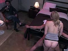 Aiden Starr is going to humiliate and strapon fuck this guy in this femdom session packed with bondage and torturing action.
