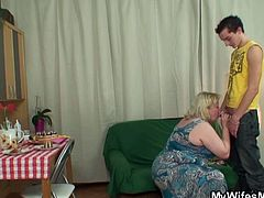 Watch a perverted dude giving her wife's blonde mature mom something to suck before pounding her clam deep and hard. Guess what happens when the wife arrives and finds them doing the dirty deed?