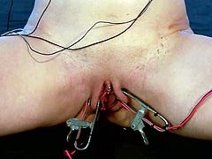 Brunette chick licks blonde's toes and gets tied up. After that she gets tortured with electricity. Then Katharine toys Lorelei's pussy with a strap-on fixed to her head.