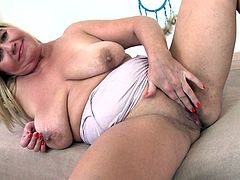 Kirsi takes off her top and shows you her very saggy tits. She lifts them up to her mouth and licks her puffy nipples for you. Watch as she spreads her legs and fingers her old, loose pussy in front of you.