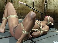Kinky Black girl gets humiliated by her master. After that she gets her ass whipped and pussy fingered. Later on she rides huge dildo.
