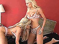 Hot blonde threesome bang