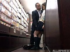 Miyu Kiritani is approached by a horny man in the bookstore. He opens her blouse to expose her perky tits and lifts her skirt to finger her wet hairy cunt. She then sucks his cock and He fucks her from behind as she leans against the book shelves.