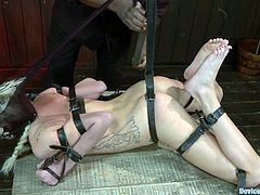 Her master Jach Hammer knows how to cause pain on Maia Davis. He chains her back and tugs her hair with a twitch on rope.