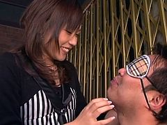 Yuuha Sakai makes out with her man and undoes his dress shirt. She has him blindfolded and she rubs is nipples. Yuuha makes him open his mouth and she spits in it, then she kneels down and sucks on his cock like a good girl. Will she get some cum out of him?